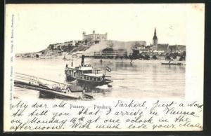 AK Pozsony / Pressburg, Dampfer an der Anlegestelle