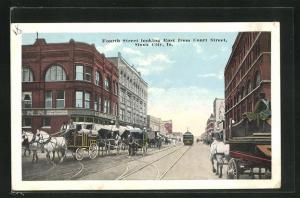 AK Sioux City, IA, Tram in Fourth Street looking East from Court Street