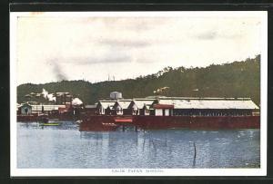 AK Balik Papan Borneo, Häuser am Wasser
