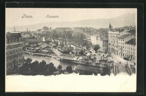AK Fiume, Blick in den Ort mit Hafen