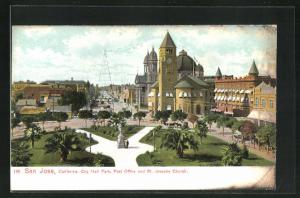 AK San Jose, LA, City Hall Park, Post Office and St. Josephs Church