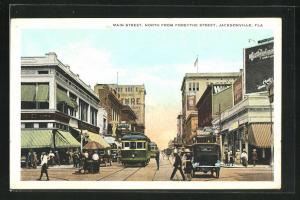 AK Jacksonville, FL, Main Street, North from Forsythe Street, Strassenbahn