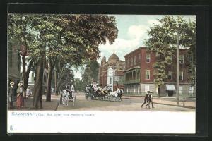 AK Savannah, GA, Bull Street from Monterey Square, Kutschen