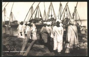 AK Omdurman, Market, Sudanesen auf dem Markt