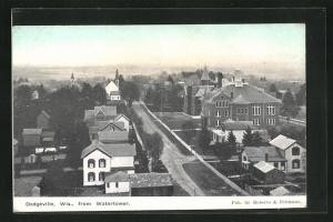 AK Dodgeville, WI, View on Street with Houses from Watertower