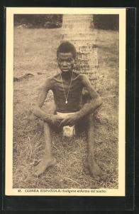 AK Guinea Espagnola, Indigena enfermo del sueno, abgemagerter Mann
