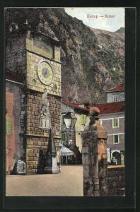 AK Kotor / Cattaro, Strassenpartie mit Uhrturm