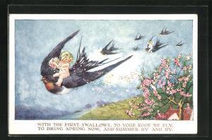 Künstler-AK Millicent Sowerby: Kinder fliegen auf Schwalben durch die Lüfte