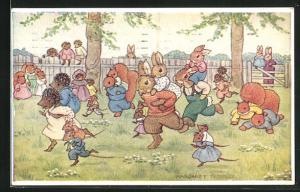 Künstler-AK Margaret Tempest: The Pick a Brack Race, Hasen, Eichhörnchen, Igel und Mäuse bei einem Wettlauf