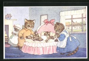 Künstler-AK Margaret Tempest: Cat`s Cradle, Katzenfamilie mit Katzenbabys in der Wiege