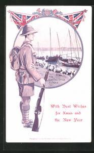 AK Ahwaz, The Landing Stage, Englischer Soldaten in Uniform mit Tropenhelm