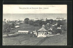AK Basseterre, View of the Fort and Government House, compound