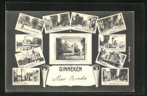 AK Ginneken, Ginnekenweg, Hotel Duivelsbrug, Ulvenhoutsche Weg, Markt, Hotel Mastbosch