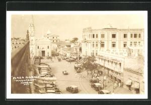 AK Maracaibo, Plaza Market, Strassenbahn auf dem Marktplatz