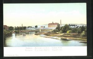 AK Nischava, Eisenbahn-Brücke und Dampfmühle