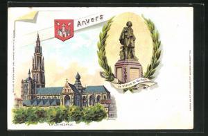 Lithographie Anvers, La Statue de Van Dyck, La Cathédrale