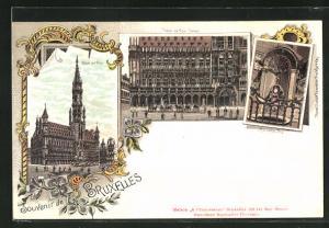 Lithographie Brüssel / Bruxelles, Hotel de Ville, Hotel de Ville en détail, Manneken Pis