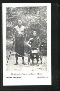 AK Guinea, Matrimonio Pamue de Bata, afrikanische Männer