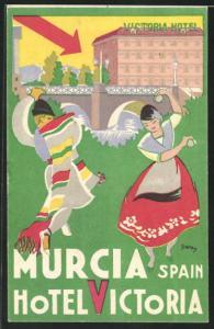 Künstler-AK Murcia, Hotel Victoria, spanischer Volkstanz
