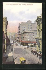 Künstler-AK Wellington, Willis Street, Grand Hotel, Tramways
