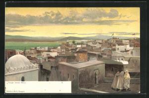 Künstler-AK Tanger, Panoramablick vom Dach eines Hauses