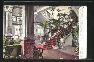 AK La Haye, Hotel des Indes, Le Grand Escalier du Hall Louis XVI avec vue sur le Salon de Lecture et le Restaurant