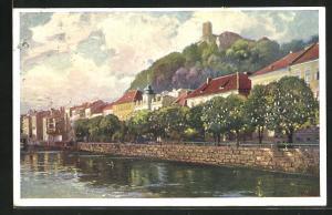 AK Ljubljana / Laibach, Teilansicht mit Burg