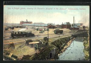 AK Indianapolis, IN, Big 4 Freight Yards, showing St. Vincent`s Hospital in the distance