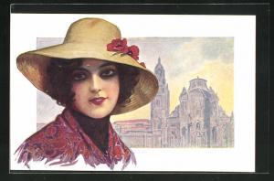 Künstler-AK Murcia, Kathedrale und Frau mit Hut