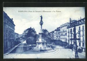 AK Pamplona, Paseo de Sarasate y Monumento a los Fueros