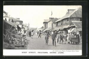 AK Freetown, Kissy Street, Strassenpartie mit Einwohnern