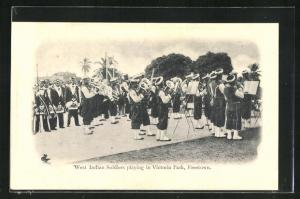 AK Freetown, West indian soldiers playing in Victoria Park