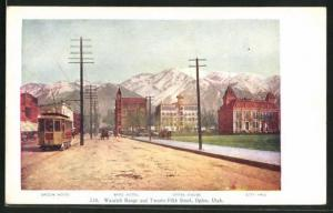 Künstler-AK Ogden, UT, Wasatch Range and Twenty-Fifth Street, Tramway