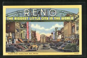 Künstler-AK Reno, NV, Virginia Street looking South