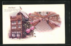 Lithographie Philadelphia, PA, The Royal Cafe, Aussen- und Innenansicht