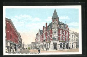 Künstler-AK Pawtucket, RI, East Avenue from High Street, Tramway