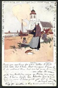 Künstler-AK Katwyk, Kirche am Meer