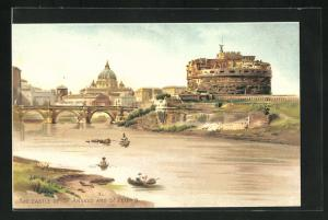 Lithographie Rome, The castle of St. Angelo and St. Peter`s, Colloseum