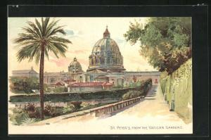 Lithographie Roma St. Peter`s from the vatican gardens, Petersdom
