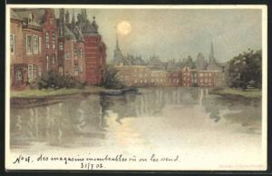 Lithographie La Haye, Häuser am Wasser bei Vollmond