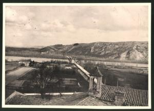 Fotografie Fotograf unbekannt, Ansicht Chateauneuf-du-Rhone, Pont de Verviers, Handzeichnung Landkarte Rückseitig