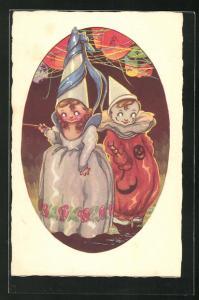AK Harlekin Junge und Mädchen in Kleid mit spitzen Hut mit Lampions