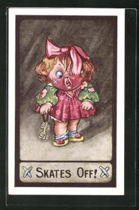 AK Mädchen mit Rollschuhen in der Hand und kaputtem Kleid, Pflaster und wirren Haaren, Skates Off