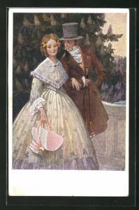AK Biedermeier, junges Paar bei einem Spaziergang mit Zylinder, Stock und Haube