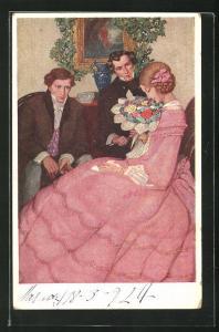 AK Biedermeier, junge Frau in rosafarbenen Kleid mit zwei Herren bekommt Blumenstrauss