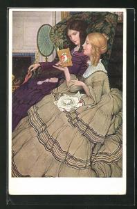 AK Biedermeier, zwei junge Frauen lesen eine Karte in wallenden Kleidern