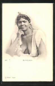 AK arabische nackte Frau, Ma belle-mere, Frau mit tiefem Ausschnitt gibt Blick auf Brüste frei