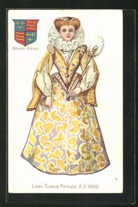 AK Frau in Kleidern einer Lady aus der Tudorzeit um 1600