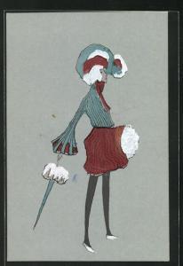 AK Frau in kurzem, rotem Rock mit türkisem Hut