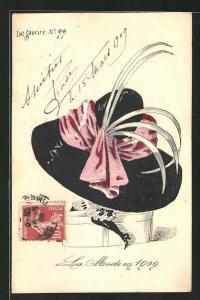 AK La Mode Mode 1909, Frau versteckt unter einem riesigem Hut